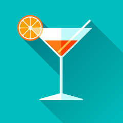 Glass for vermouth icon in flat style, wineglass on color background. Alcohol cocktail with lemon and straw. Vector design elements for you business project