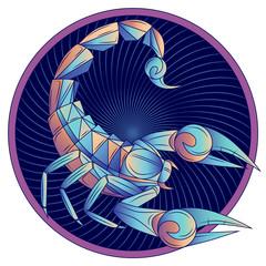 Scorpio zodiac sign, horoscope symbol blue, vector