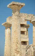 Temple of Goddess Aphaia on Aegina Island in Saronic Gulf, Greece