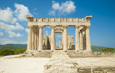 Temple of Goddess Aphaia on Aegina Island in Saronic Gulf, Greece