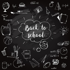 Hand drawn school doodles on blackboard. Back to school vector ikkustration