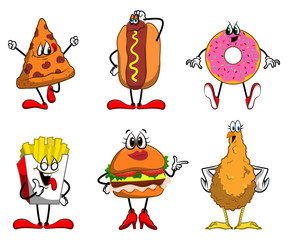 Set Of Junk Food Cartoon Characters Vector
