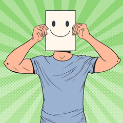 Pop Art Man with Smiley Emoticon on Paper Sheet. Happy Guy Holding a Smiling Face Emoticon. Vector illustration