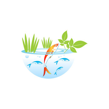 Red fish in blue circle. Aquaponics System with Fish icon, logo, sign. Vector.