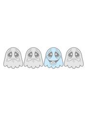 be different lachen glücklich unterschied 2 freunde team paar weinen traurig tränen unglücklich geist süß niedlich frech comic cartoon clipart spuken horror monster grusel halloween