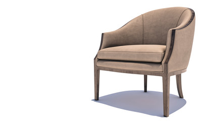 Digitally Generated Armchair on White Background