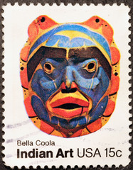 Indian mask on american postage stamp