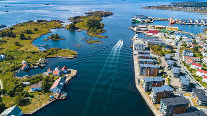 Canvas Prints Northern Europe Aerial view of Haugesund, Norway.