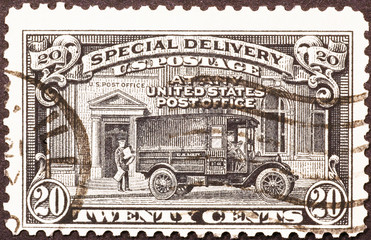 Mail truck on US postage stamp of 1925