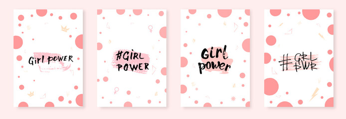 Collection of Girl power lettering cards. Vector illustration.
