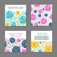 Embroidery vintage style square card set with bright colorful spring flower and leaf pattern. Ethnic ornamental blanks. Rustic design ornament brochures. EPS 10 vector. Clipping masks