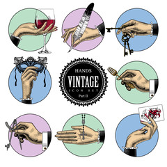 Set of round icons in vintage engraving style with hands and accessories. Retro business icons. Vector illustration