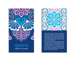 Indian style bright colorful mehendi ornament flyer. Front and back pages. Ornamental vertical blank with ethnic motifs. Paper brochure template. Oriental design concept. EPS 10 vector illustration.