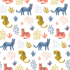 Cute seamless pattern with colorful Leopards, tropical leaves and shapes. Hand drawn wallpaper. Vector design template. Good for print, fabric, wrapping paper , childish apparel etc.