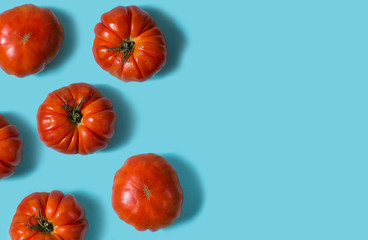 Top view of fresh tomatoes isolated on blue background
