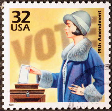 Celebration of woman suffrage on american postage stamp
