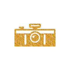 Panorama camera icon in gold glitter texture. Sparkle luxury style vector illustration.