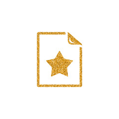 Favorite icon in gold glitter texture. Sparkle luxury style vector illustration.
