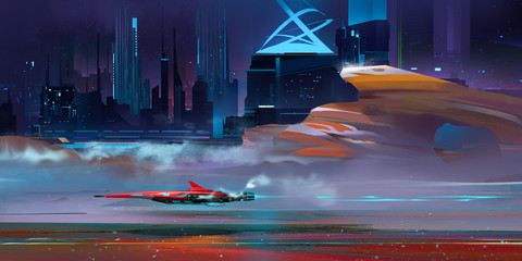 colored nightly fantastic urban cyberpunk landscape with mountains
