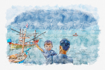 Scenery sea on watercolor painting.
