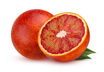 Two red blood orange with leaves isolated on white background.