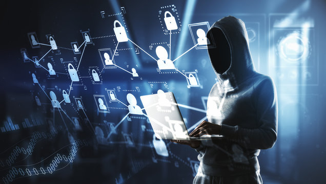 hacker with laptop and digital cyberspace screen