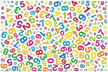 Twisted colored numbers. Randomly distributed numerals. Symbol image for numerology or flood of data. One to zero disorganized of different sizes and angles. Illustration on white background. Vector.