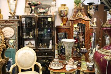 Vintage interior things at the flea market