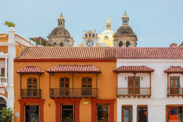 Architecture in Cartagena, Colombia on the Plaza De La Aduana
