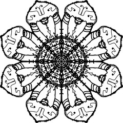 Vigorous octagon wands with fended eye mandala in black and white