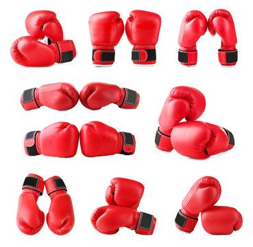 Set of boxing gloves on white background