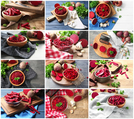 Set with fresh sliced beets in different dishware on tables