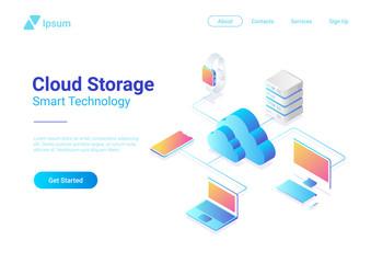 Isometric Flat Cloud Hosting Network vector. Online Storage