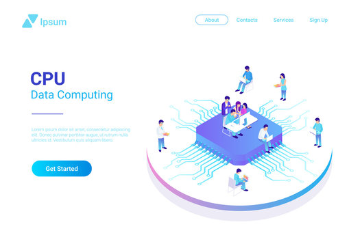 Isometric Flat People Working on CPU GPU Processor Chip vector