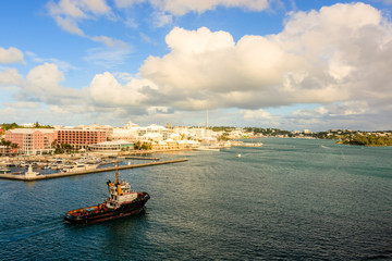 Hamilton, Bermuda- 2017: View of harbor in Hamilton, Bermuda  on a sunny day.