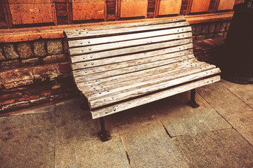 Bench in Abanotubani district with  in the Old Town of Tbilisi Georgia.