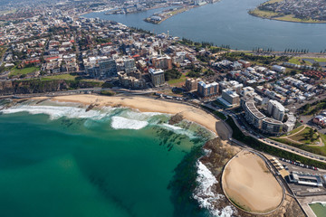 Newcastle Beach - aerial view Newcastle NSW Australia. Newcastle is the second oldest city in Australia and major centre north of Sydney.