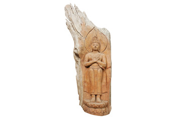Standing Buddha image carving on wooden