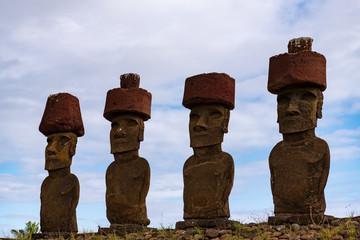 モアイ, イースター島, チリ, ポリネシア, 巨石文化, 夕焼け, 夕日, パスクア島, ハンガロア, アフ・ナウ・ナウ, アナケナビーチ Rapa Nui Isla de Pascua Easter island AFU NAU NAU