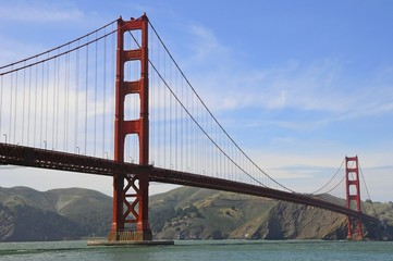 Famous Landmark - Golden Gate Bridge and landscape in San Francisco, California, United States