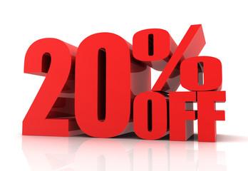 twenty percent off sale concept  3d illustration