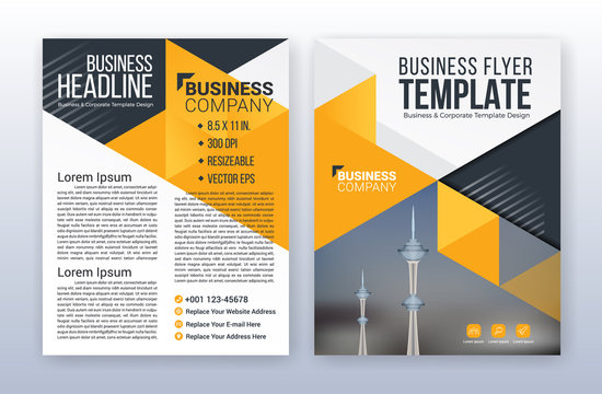 Modern business flyer template. Annual report background. 8.5 x 11 inches print media.