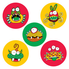 Cute doodle monsters and aliens on a bright circle background