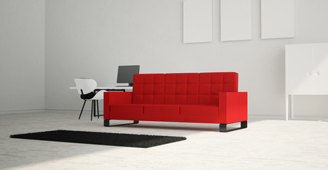 Modern and minimalist bright interior of living room with red sofa and white furniture . 3d rendering .