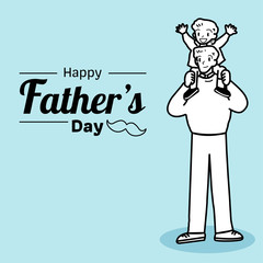 Happy Father's Day. Happy fathers day card vintage retro type font. Father's Day illustration. Father and son illustration. All in a single layer. Vector illustration.