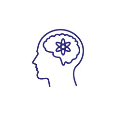 Sensible mind line icon. Head, brain, man, atom. Intelligence concept. Can be used for topics like business, science, mental activity