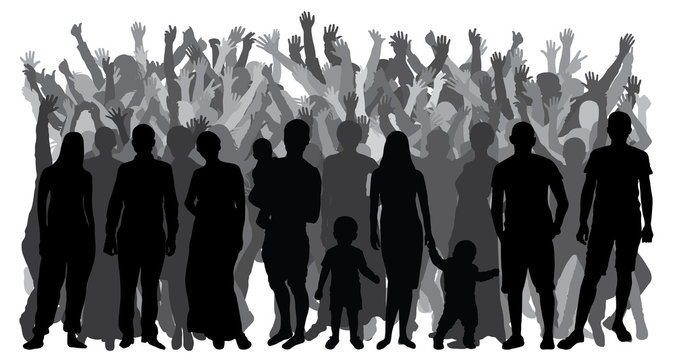 Silhouettes of people standing in full growth, crowd. Vector