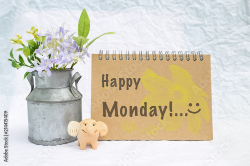 Happy monday greeting card concept happy elephant clay doll and happy monday greeting card concept happy elephant clay doll and flower pot with greeting card m4hsunfo
