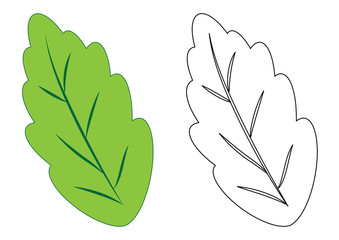 leaf. Coloring page, game for kids. Vector illustration.