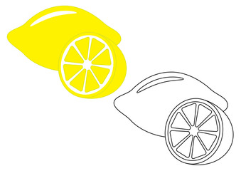 Lemon, fruit. Coloring page, game for kids. Vector illustration.